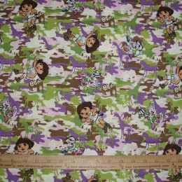 Cotton Fabric DORA the Explorer on purple lilac green brown CAMO